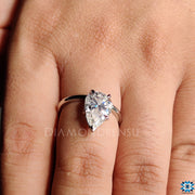 pear moissanite ring, solitaire ring