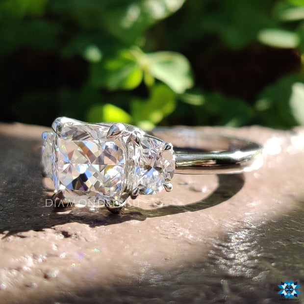 cushion divine moissanite ring - diamondrensu