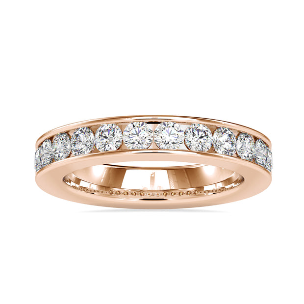 Dazzling 3.00 MM Round Cut Moissanite Channel-Set Eternity Wedding Band