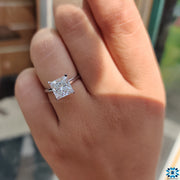 Eye-catching 2.51 CT Princess Cut Colorless Moissanite Solitaire Ring