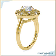 Unique 1.32 TCW Round Moissanite Art Deco Vintage Style Engagement Ring