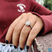 2.96 TCW Cushion Cut with Halo Pave Cathedral Set Moissanite Engagement Ring