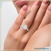 3.04 TW Cushion Cut Invisible Gallery Moissanite Halo Engagement Ring