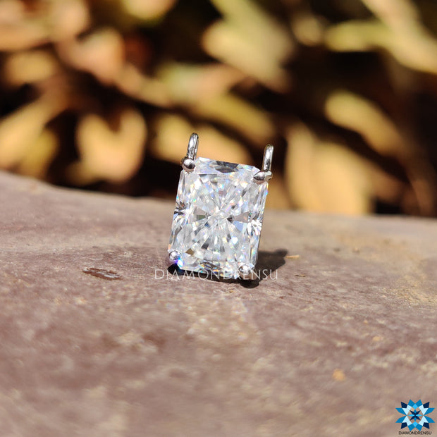 Unique Wire Basket Setting 2.33 CT Radiant Cut Charm Moissanite Wedding Pendant