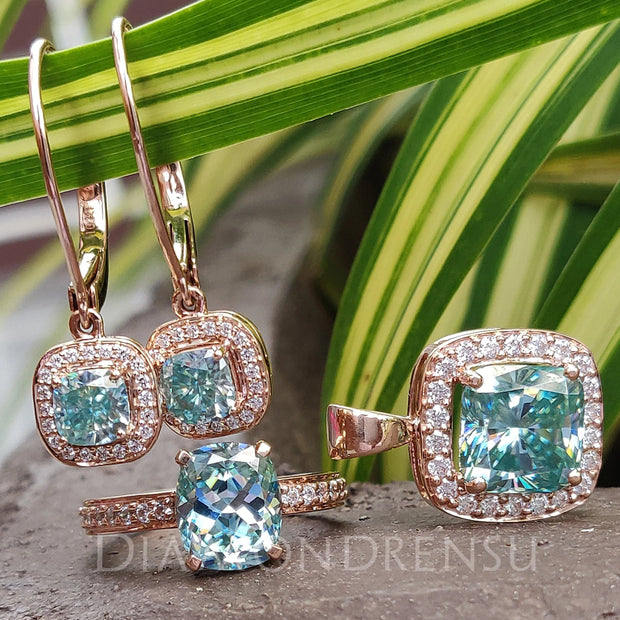 A Special and Perfect Wedding Set - Cyan Blue Cushion Cut Bridal Set