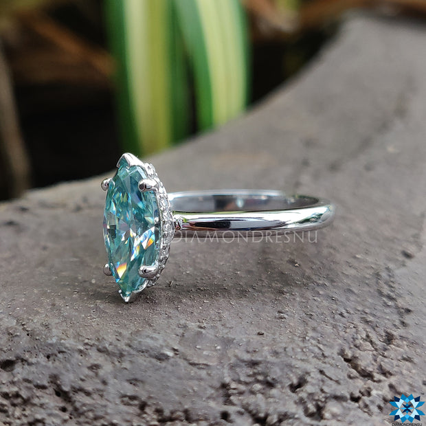 cyan blue moissanite ring