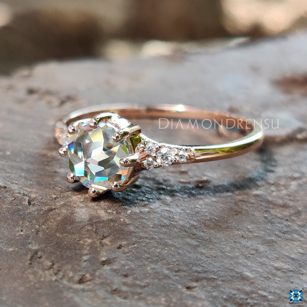 Muse 0.60 Carat Round Rose Cut Classic Moissanite Engagement Ring