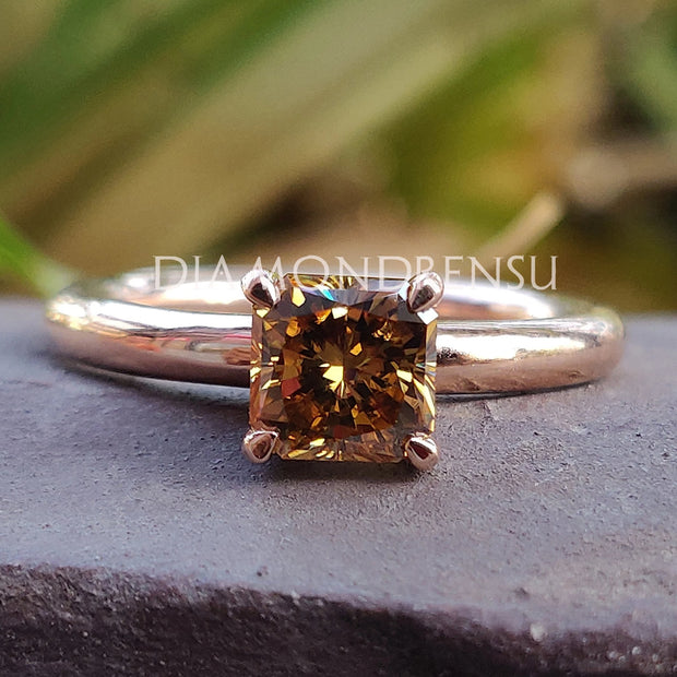 1.09 CT Square Radiant Brown Champagne Moissanite Solitaire Ring