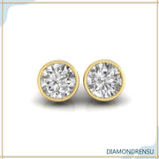1.97 TCW Round Cut Colorless Moissanite Bezel Set Moissanite Stud Earrings