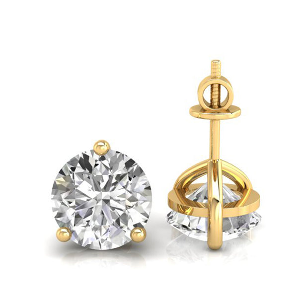 2.00 TCW Round Cut Martini Style Moissanite Wedding Earrings