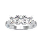 Delicate 2.71 DEW Princess Moissanite Three Stones Engagement Ring