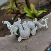 Unique Dragon  Colorless Round Moissanite Pendant