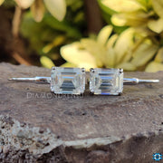 emerald cut diamond earrings
