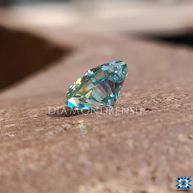 1.85 CT Cyan Blue Radiant Cut Amazing Loose Moissanite