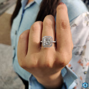 4.25 TCW Radiant Cut Light Gray Moissanite Halo Engagement Ring