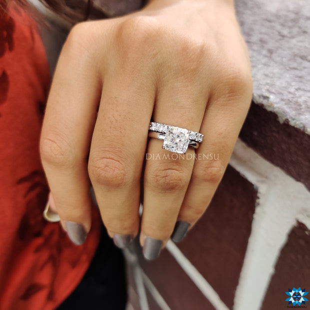 cushion cut moissanite engagement ring - diamondrensu