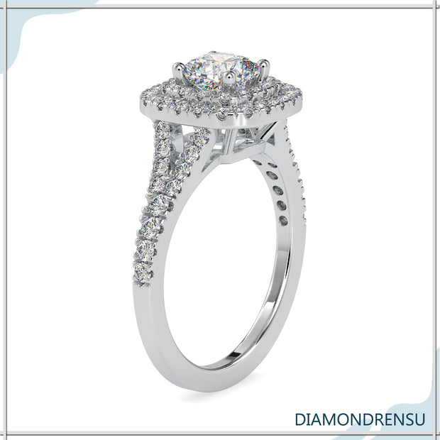 cushion cut moissanite ring - diamondrensu