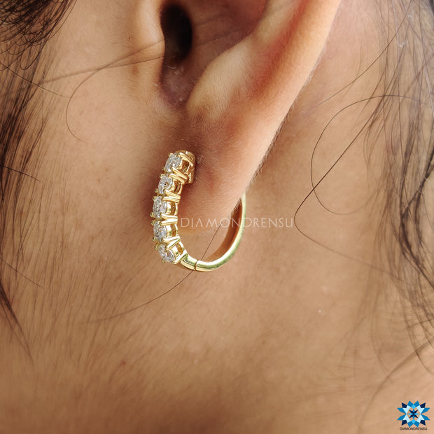1.00 TCW Round Brilliant Cut Sold Yellow Gold Moissanite Hoop Earrings