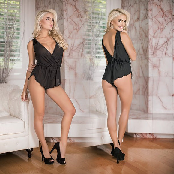 Magic Silk Simply Wicked Deep Plunge Romper