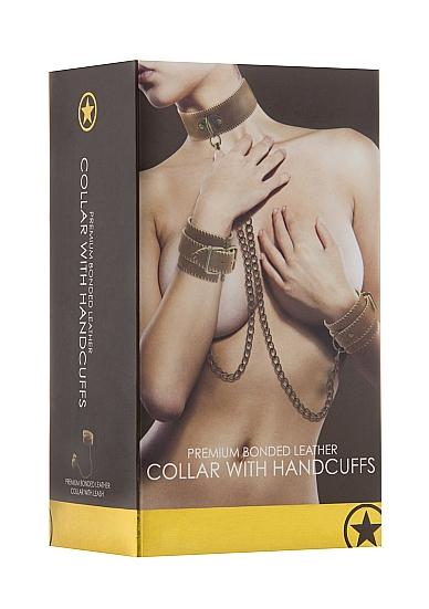 Ouch Collar With Handcuffs Brown