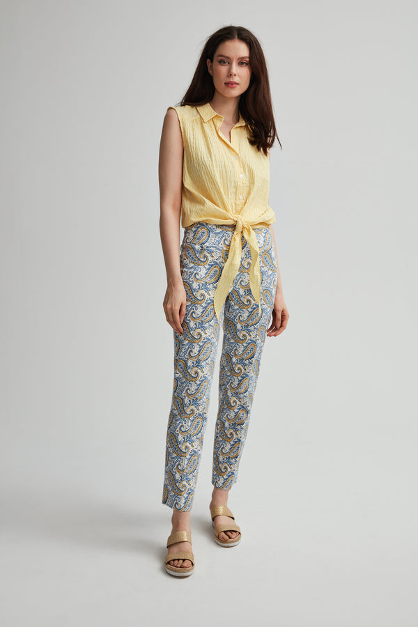 Perfect Fit Slim Paisley Print Ankle Pant