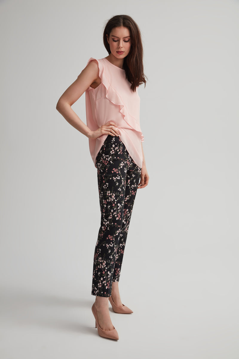 Perfect Fit Slim Leg Floral Print Ankle Pant