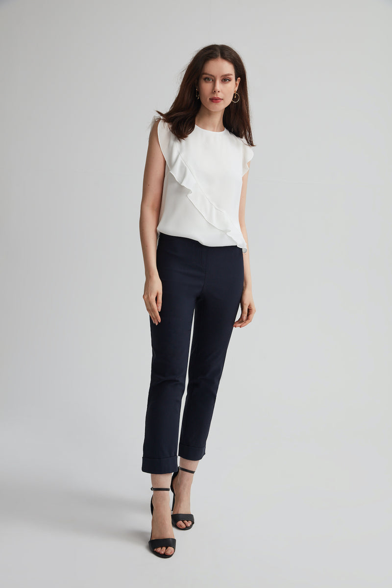 Navy Stretch Jeans style pant with Cuff