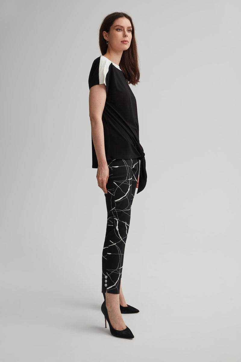 Perfect Fit Black Marble Skinny Ankle Pant with Buttons