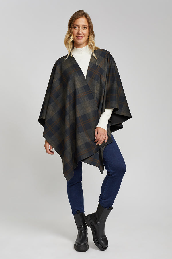 Crossover Plaid Cape