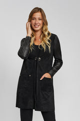 Long Suede Jacket with Leather Sleeves