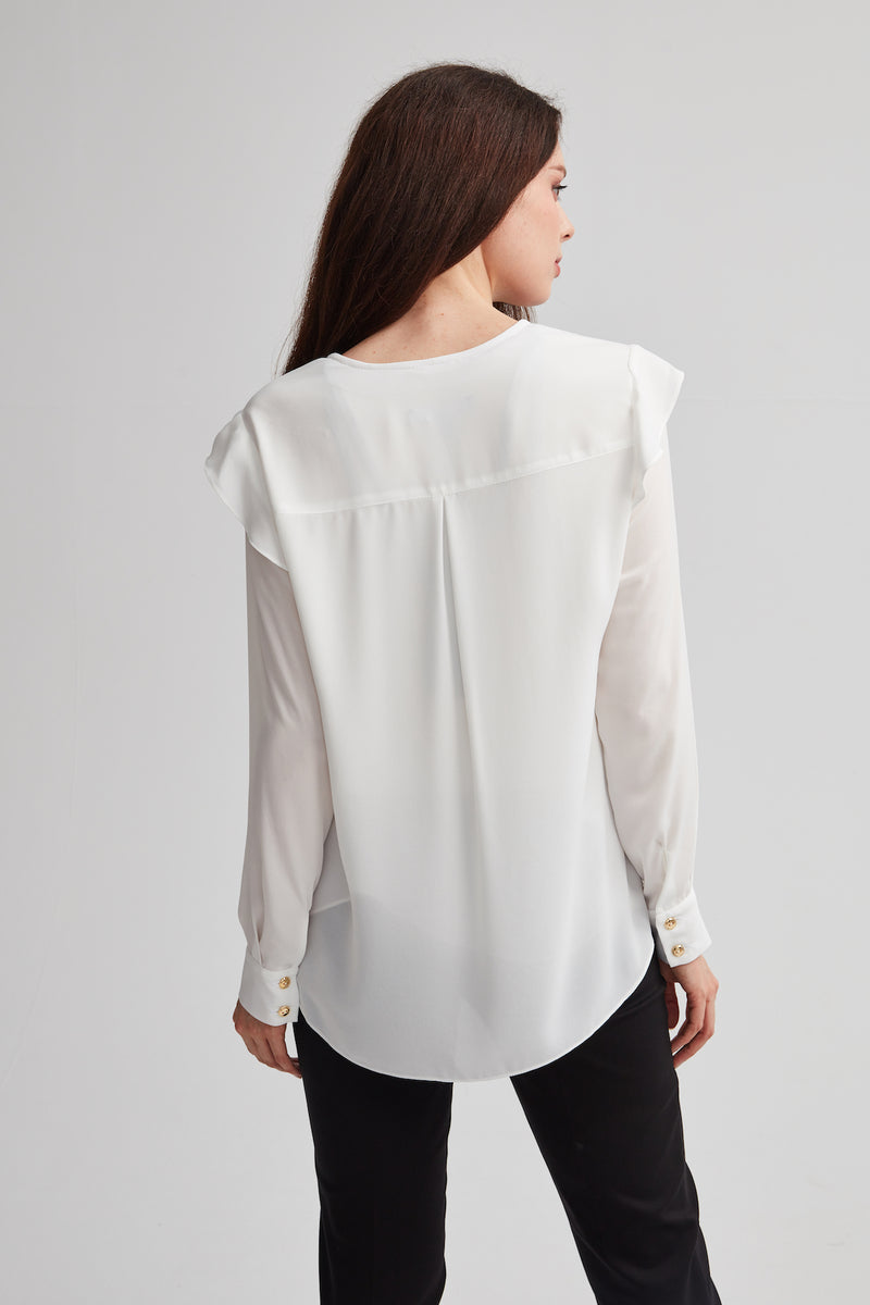 Ivory Long Sleeve Ruffle Blouse