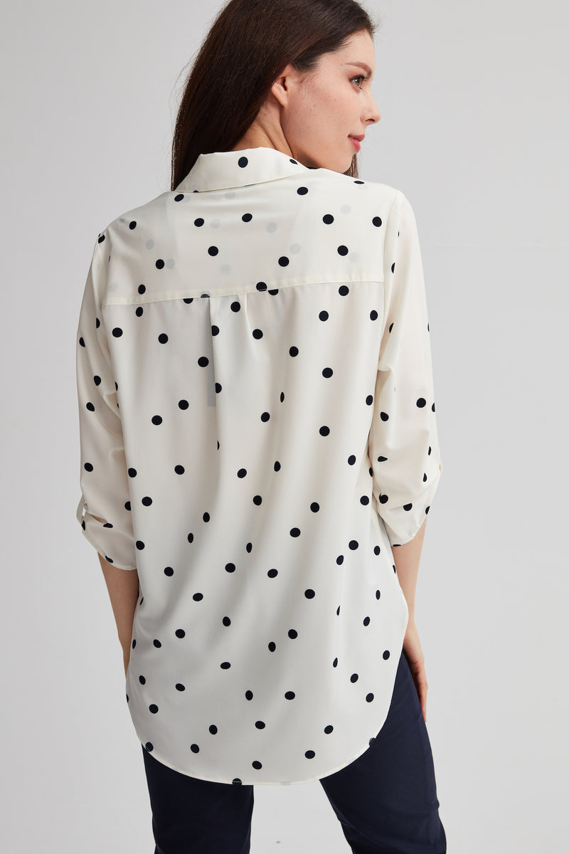 Polka Dot Oversized Chiffon Shirt