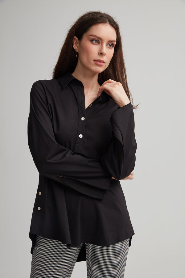 Cotton Split-Neck Shirt