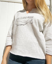 Load image into Gallery viewer, Long Island Mama Cropped Sweatshirt in Light Grey