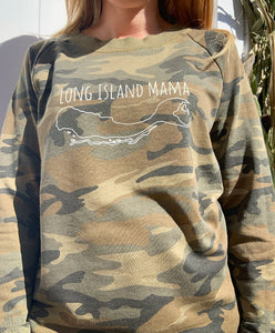 Long Island Mama Sweatshirt in Camo