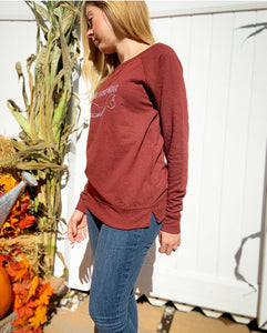 Long Island Mama Sweatshirt in Wine