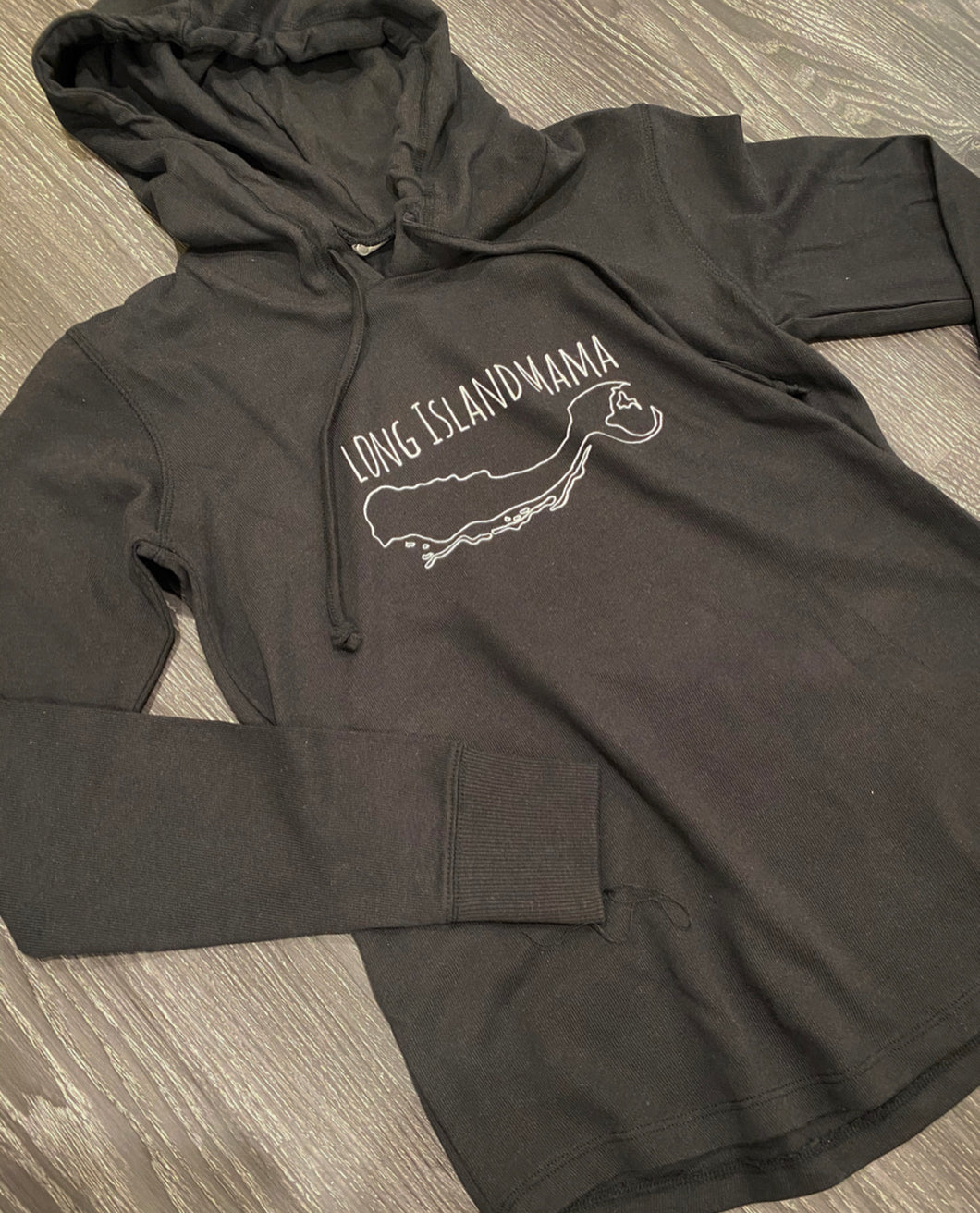 Long Island Mama Hoodie in Black
