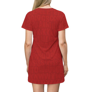AL4BETTy - All Over Print T-Shirt Dress (Red)