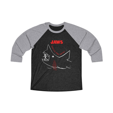 JAWs - The whole damn thing! - Unisex Tri-Blend 3/4 Sleeve Ringer T-Shirt