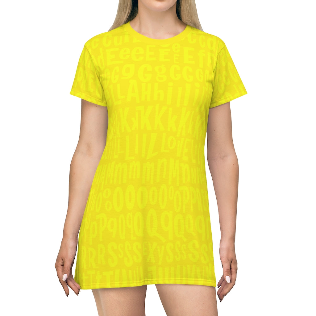 AL4BETTy - All Over Print T-Shirt Dress (Yellow)