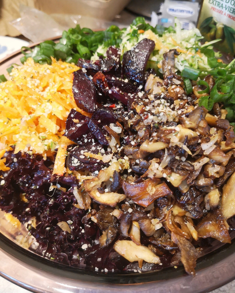 Warm mushroom and roasted beet salad