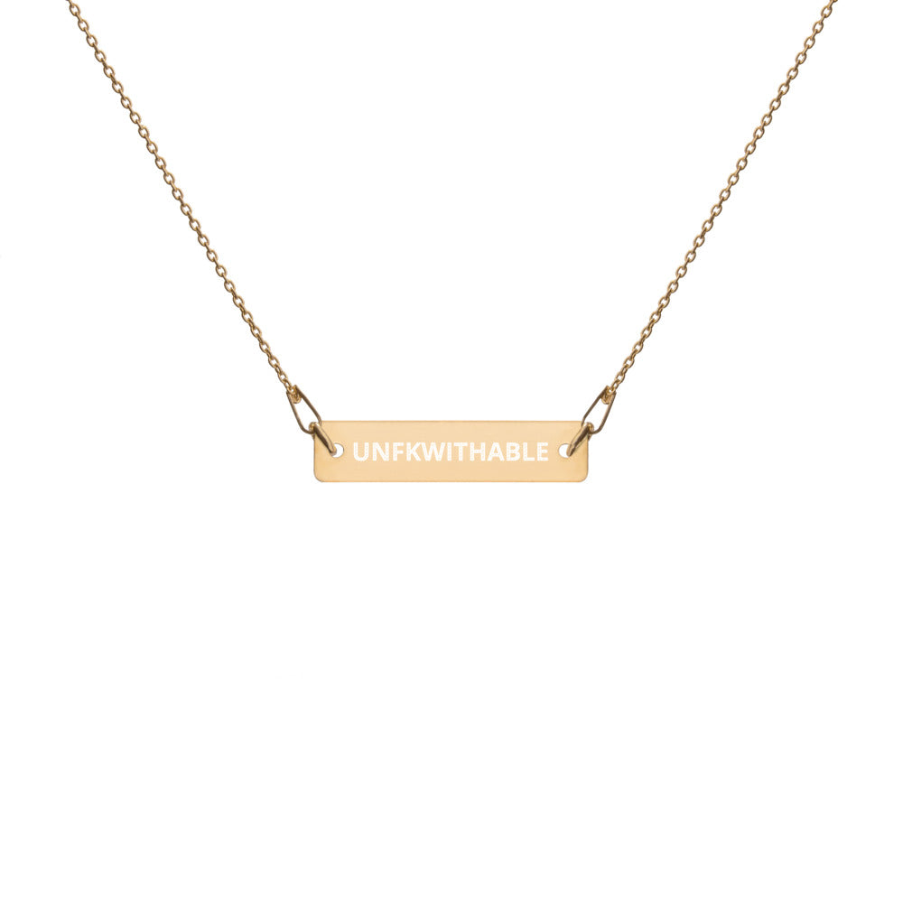 UNFKWITHABLE  | Engraved Bar Chain Necklace