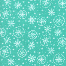 Load image into Gallery viewer, Deck the Halls - Aqua Snow Flakes - Fabric by the Yard