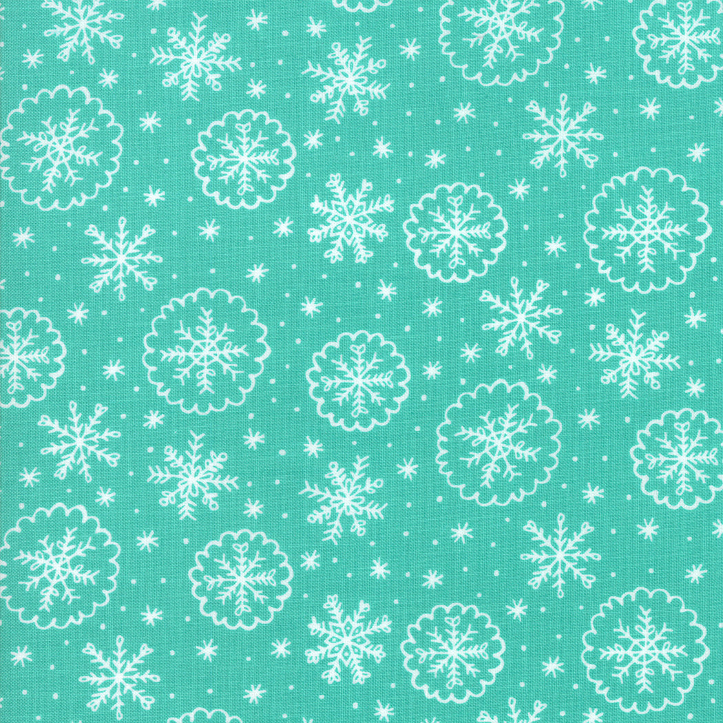 Deck the Halls - Aqua Snow Flakes - Fabric by the Yard