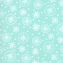 Load image into Gallery viewer, Deck the Halls - Mint Snow Flakes - Fabric by the Yard
