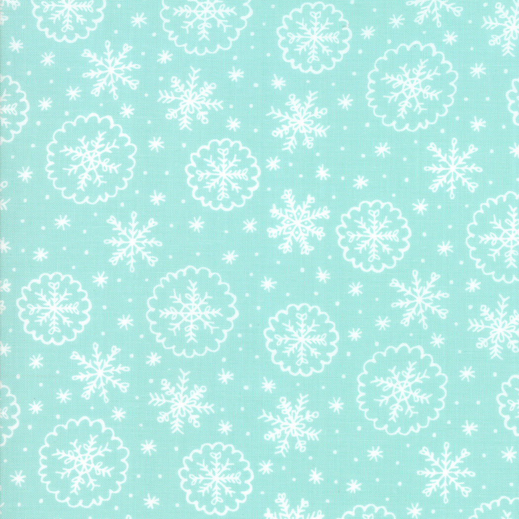 Deck the Halls - Mint Snow Flakes - Fabric by the Yard