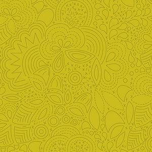 Sun Print 2020 - Stitched Chartreuse  - Fabric by the Yard