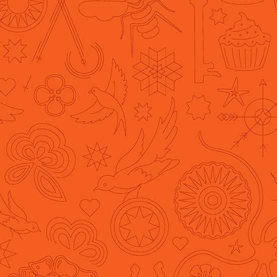 Sun Print 2020 - Embroidery Pumpkin  - Fabric by the Yard