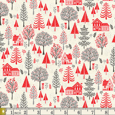 Scandi 2020 - Trees - Red - by Makower UK - Fabric by the Yard