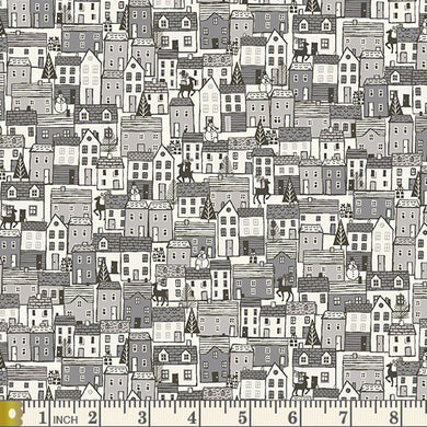 Scandi 2020 - Houses - Grey - by Makower UK - Fabric by the Yard